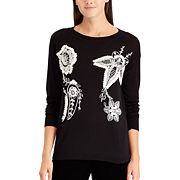 Petite Chaps Floral Embroidered Crewneck Sweater