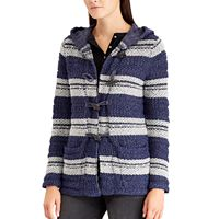 Petite Chaps Hooded Jacquard Cardigan