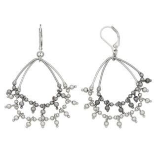Simply Vera Vera Wang Two Tone Beaded Double Hoop Earrings