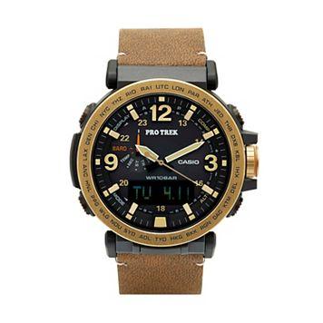 Casio Men's PRO TREK Triple Sensor Leather Analog-Digital Tough Solar Watch - PRG600YL-5CR