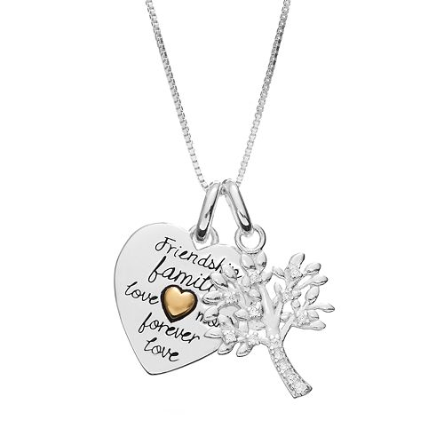 Timeless Sterling Silver Cubic Zirconia Heart & Family Tree Pendant