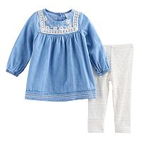 Baby Girl Nannette Embroidered Chambray Tunic & Leggings Set