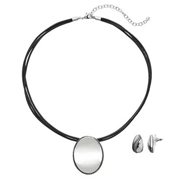 Napier Oval Cord Necklace & Teardrop Earring Set