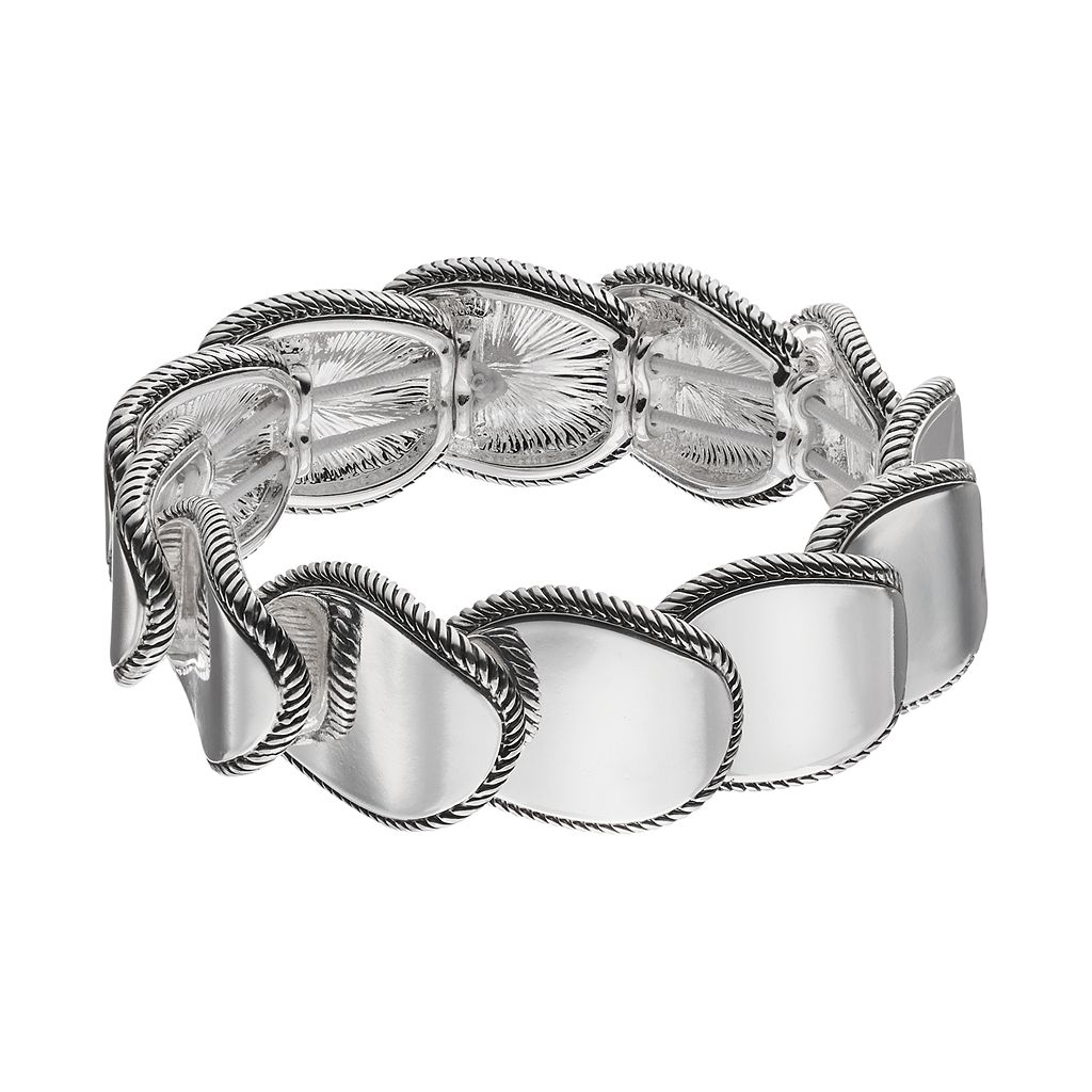 Napier Overlapping Oval Link Stretch Bracelet