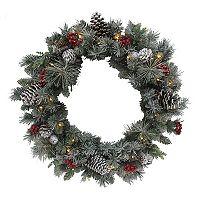 St. Nicholas Square® Pre-Lit Artificial Snowflocked Pine Wreath