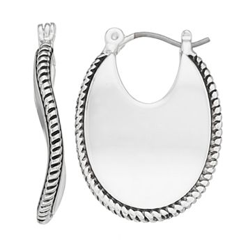 Napier Wavy Cutout Oval Hoop Earrings