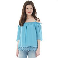 Juniors' IZ Byer California Lace Hem Off Shoulder Top