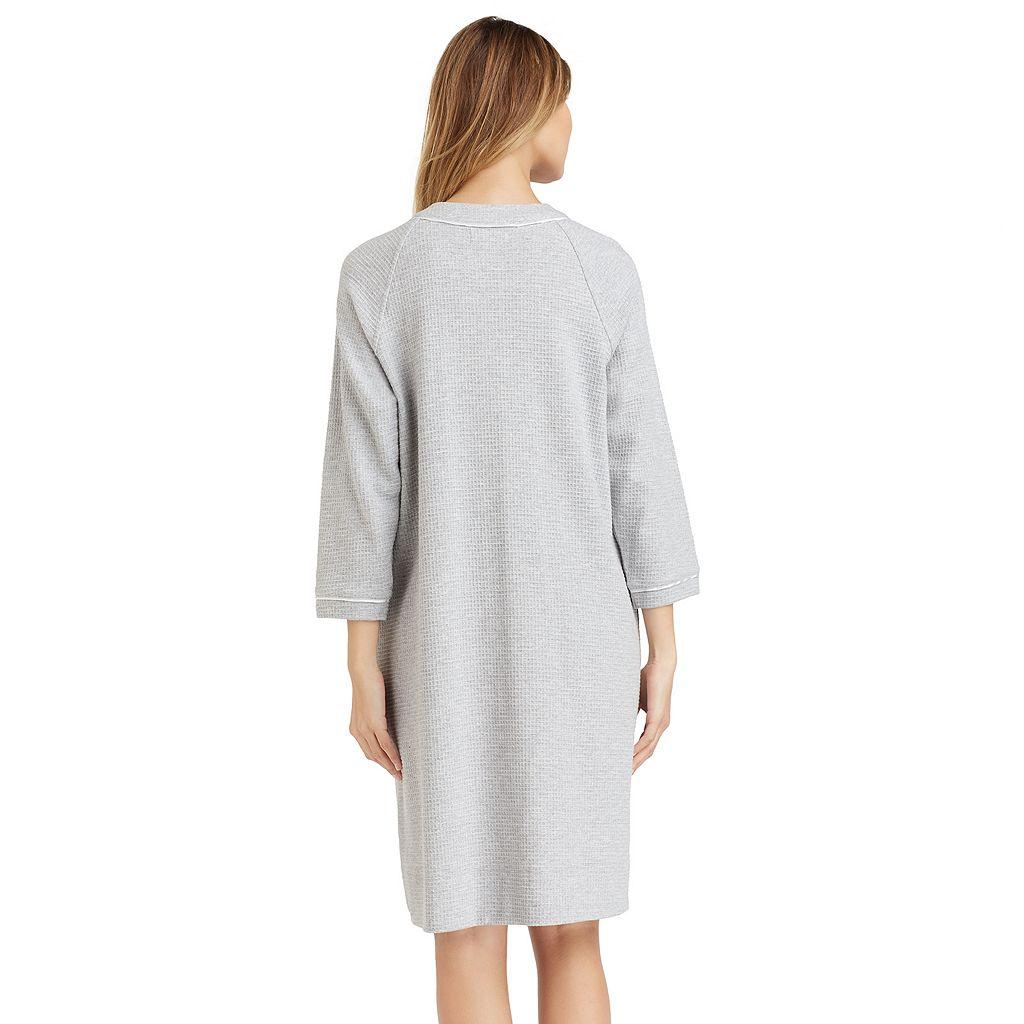 Women's Stan Herman Waffle-Knit Zip Up Short Robe