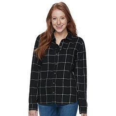 Juniors' SO® Pocket Plaid Flannel Shirt