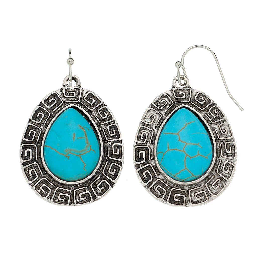 Antiqued Simulated Turquoise Nickel Free Teardrop Earrings