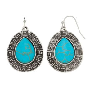 Antiqued Simulated Turquoise Nickel Free Teardrop Earrings