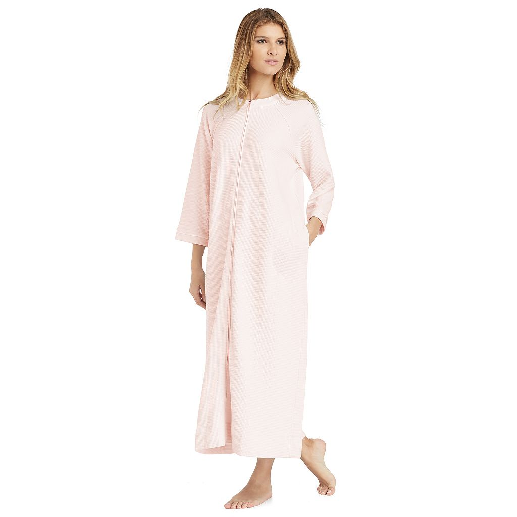 Women's Stan Herman Waffle-Knit Zip Up Long Robe