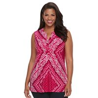 Plus Size Croft & Barrow® Pintuck Henley Tank