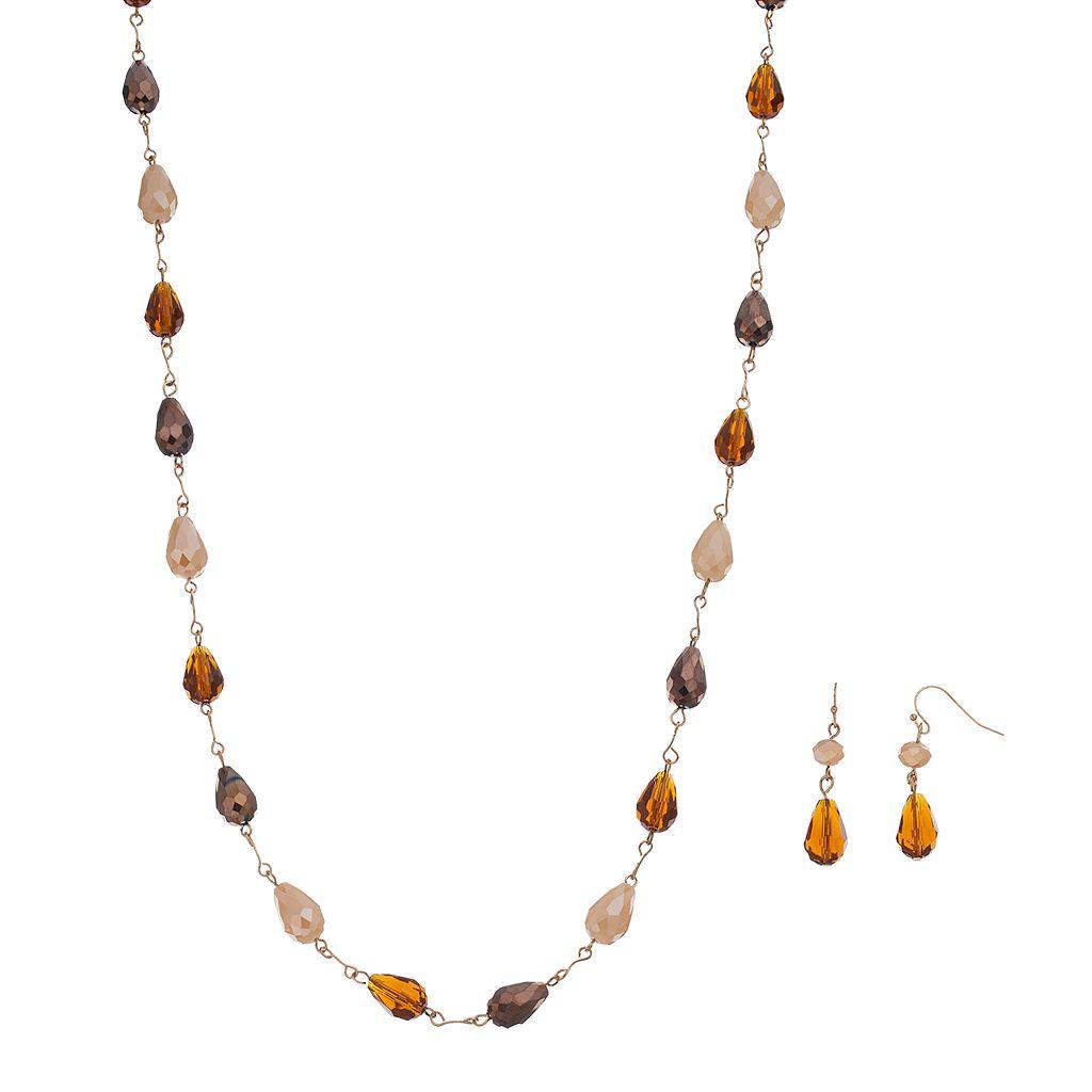 Long Brown Teardrop Bead Necklace & Drop Earring Set