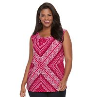 Plus Size Croft & Barrow® Printed Jacquard Tank
