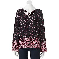 Juniors' Pink Republic Strappy Bell Sleeve Top