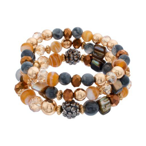 Brown Beaded Coil Bracelet