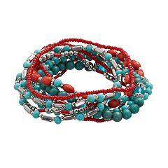 Simulated Turquoise Beaded Stretch Bracelet Set