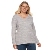 Plus Size Croft & Barrow® Cable-Knit V-Neck Sweater