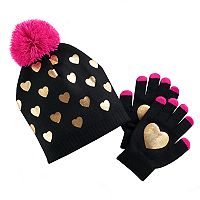 Girls 4-16 Pom Top Gold Foil Heart Hat & Gloves Set