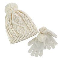 Girls 4-16 Pom Top Metallic Cable Knit Hat & Pom Gloves Set