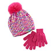 Girls 4-16 Faux-Fur Pom Top Marled Hat & Gloves Set
