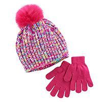 Girls 4-16 Faux-Fur Pom Top Marled Hat & Gloves Set