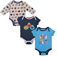 Baby Boy Sesame Street Oscar, Elmo & Cookie Monster Bodysuit Set