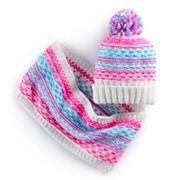 Girls 4-16 Multi-Colored Knot Pom Hat & Infinity Scarf Set