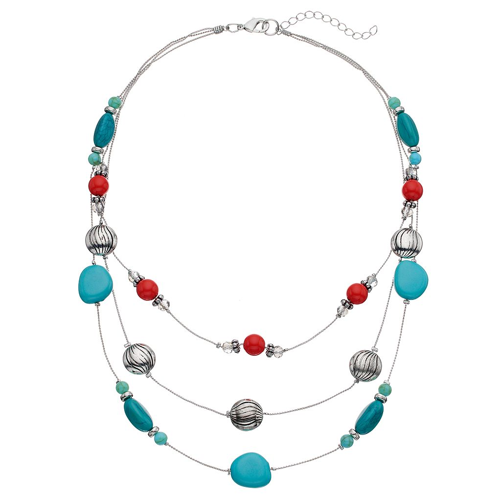 Simulated Turquoise Multi Strand Beaded Necklace