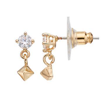 LC Lauren Conrad Cubic Zirconia Nickel Free Pyramid Drop Earrings