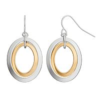 Chaps Concentric Oval Nickel Free Drop Earrings