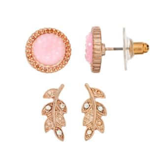 GS by gemma simone Pink Round Stud & Leaf Drop Earring Set