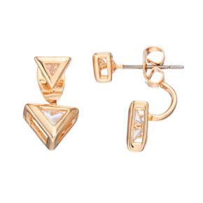 LC Lauren Conrad Cubic Zirconia Nickel Free Triangle Front Back Earrings