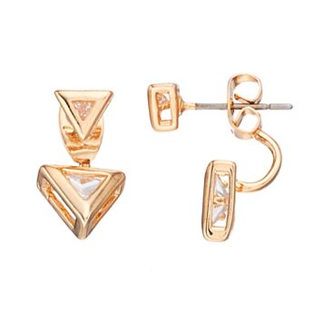 LC Lauren Conrad Cubic Zirconia Nickel Free Triangle Front Back Earrings