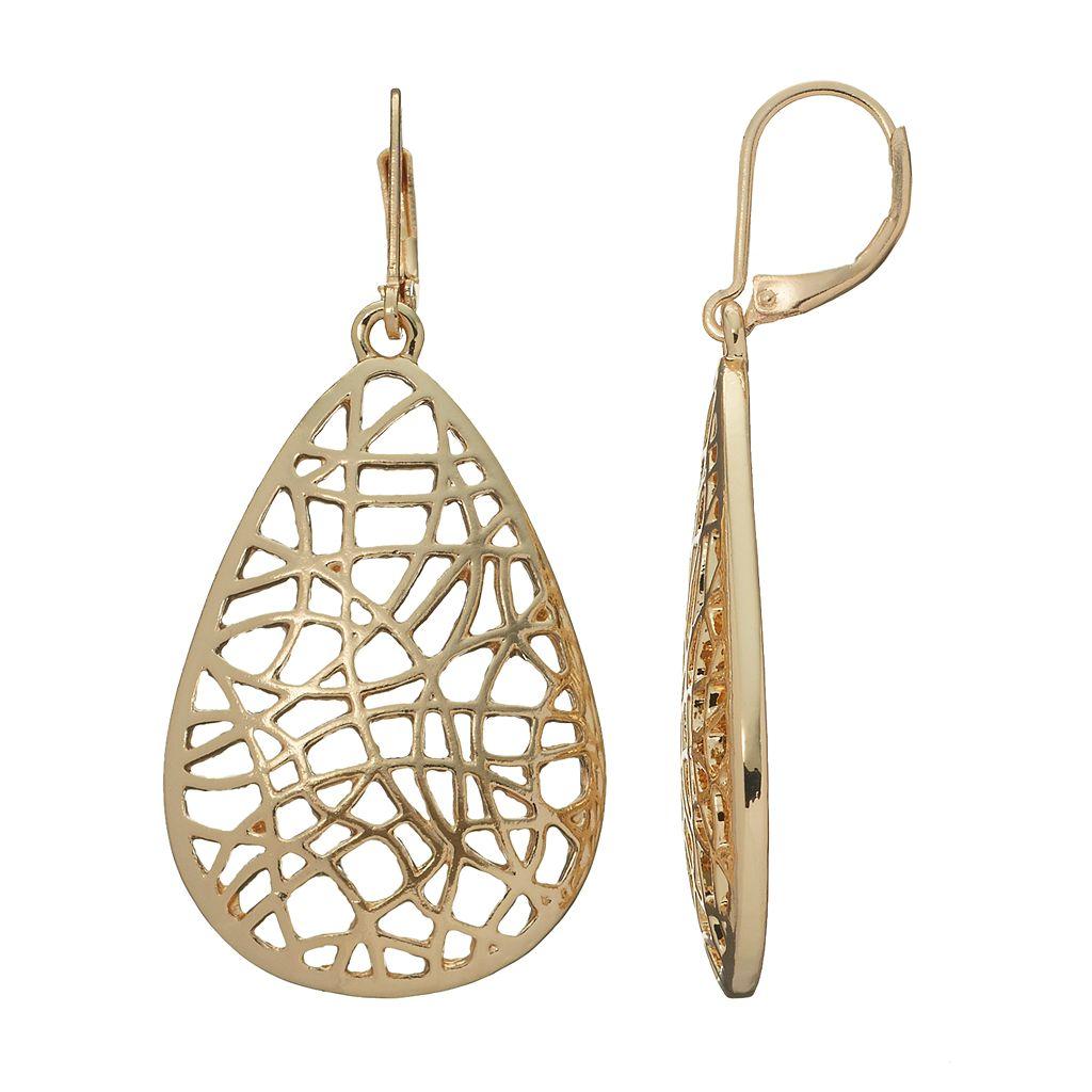 Dana Buchman Openwork Lattice Teardrop Earrings