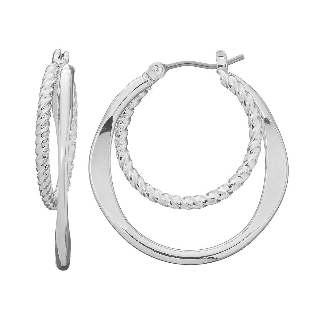 Dana Buchman Twisted Double Hoop Earrings