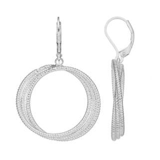 Dana Buchman Twisted Triple Drop Hoop Earrings