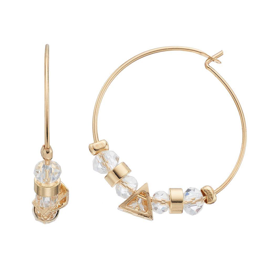 LC Lauren Conrad Nickel Free Beaded Hoop Earrings