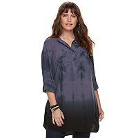 Plus Size Rock & Republic® Tie-Dye High-Low Tunic
