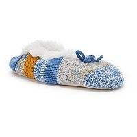 Women's SONOMA Goods for Life™ Knit Striped Fuzzy Babba Ballerina Slippers