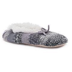 Women's SONOMA Goods for Life™ Knit Striped Fuzzy Babba Ballerina Slippers