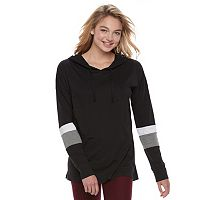 Juniors' Plus Size SO® Colorblock Striped-Sleeve Hooded Tee