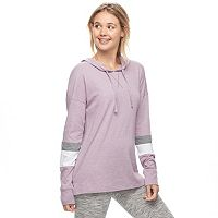 Juniors' SO® Perfectly Soft Striped Sleeve Hooded Tee