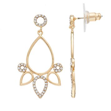 LC Lauren Conrad Nickel Free Open Teardrop Chandelier Earrings