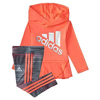 Baby Girl adidas Hooded Wrap-Hem Hoodie & Leggings Set