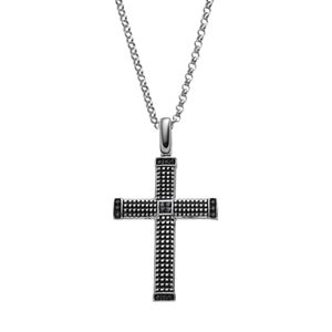 Men's Sterling Silver 1/4 Carat T.W. Black Diamond Textured Cross Pendant