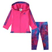 Baby Girl adidas Hooded Velour Jacket & Splatter Leggings Set