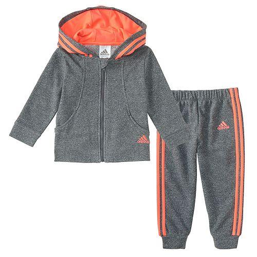 Baby Girl adidas Hooded Lurex Jacket & Pants Set