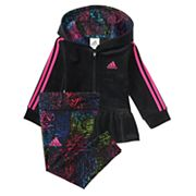 Baby Girl adidas Hooded Ruffled Jacket & Splatter Leggings Set